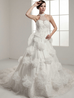 A-line Halter Chapel Train Organza Beading Crystal Wedding Dresses