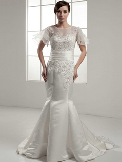 Mermaid Bateau Court Train Satin Short Sleeve Beading Wedding Dresses