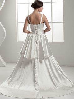 A-line V-neck Brush Train Stretch Satin Tiered Wedding Dresses