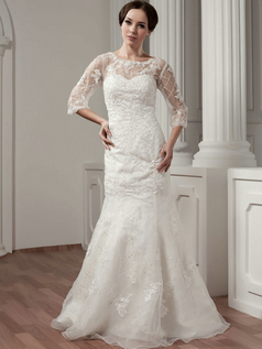 Mermaid Bateau Floor-length 3/4 Length Sleeve Lace Wedding Dresses With Semi Transparent