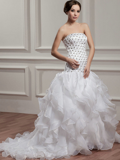 Princess Tube Top Brush Train Organza Ruffle Crystal Wedding Dresses