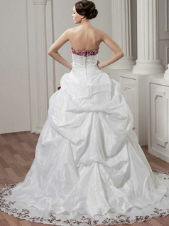 Ball Gown Strapless Brush Train Taffeta Pick-Ups Wedding Dresses