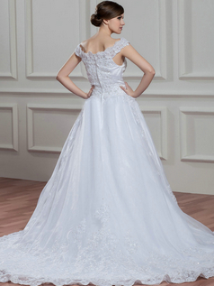 A-line Off-the-shoulder Court Train Organza Lace Wedding Dresses With Beading