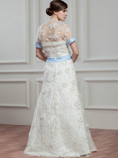 A-line Tube Top Floor-length Organza Short Sleeve Flower Wedding Dresses With Jacket