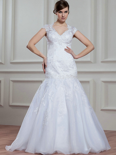 Mermaid Scalloped-edge Floor-length Organza Cap Sleeves Lace Wedding Dresses With Beading