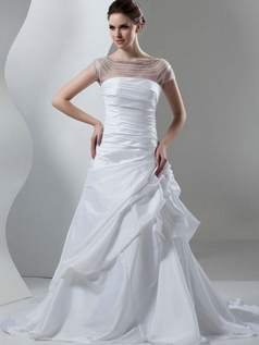 Mermaid Bateau Brush Train Satin Beading Crystal Wedding Dresses With Semi Transparent