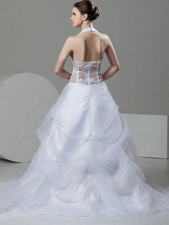 Princess Halter Brush Train Organza Beading Lace Wedding Dresses With Semi Transparent