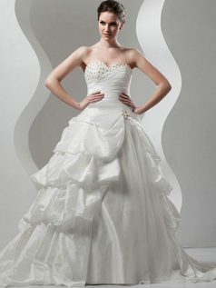 Ball Gown Strapless Brush Train Taffeta Crystal Beading Wedding Dresses
