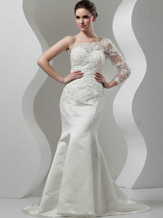 Mermaid Scalloped-edge Brush Train Satin Long Sleeve Lace Wedding Dresses With Crystal