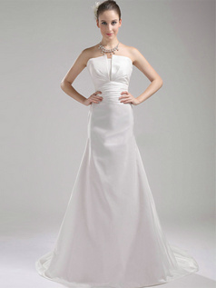 Over Hip Scalloped-edge Strapless Sweep Satin Wedding Dresses