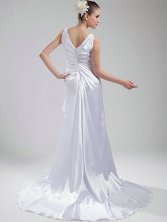 Over Hip V-neck Sweep Stretch Satin Appliques Wedding Dresses