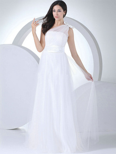 Column One Shoulder Floor-length Tulle Bowknot Wedding Dresses