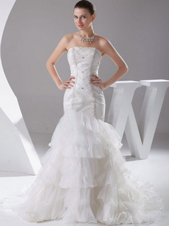 Mermaid Tube Top Sweep Organza Appliques Ruffle Wedding Dresses