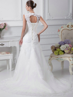 Mermaid Straps Court Train Tulle Crystal Lace Wedding Dresses