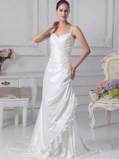 Mermaid Spaghetti Straps Court Train Stretch Satin Appliques Wedding Dresses With Crystal