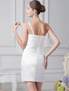 Column One Shoulder Short Satin Tiered Crystal Wedding Dresses