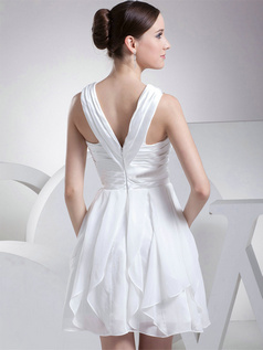 A-line V-neck Straps Short Chiffon Wedding Dresses