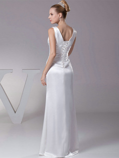Column V-neck Floor-length Satin Sequin Crystal Wedding Dresses