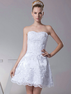 A-line Sweetheart Strapless Short Sequin Lace Wedding Dresses