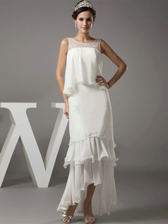 Column Bateau Floor-length Chiffon Sequin Beading Wedding Dresses