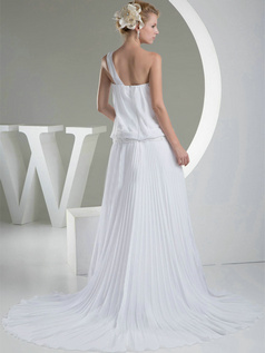 A-line One Shoulder Court Train Chiffon Draped Wedding Dresses