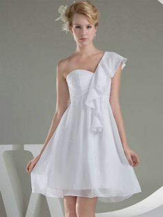 A-line One Shoulder Short Chiffon Lotus Leaf Sleeve Wedding Dresses