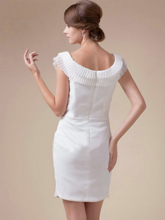 Column Bateau Short Chiffon Tiered Cap Sleeves Wedding Dresses