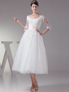 Ball Gown Bateau Tea-length Tulle Half Sleeve Lace Wedding Dresses