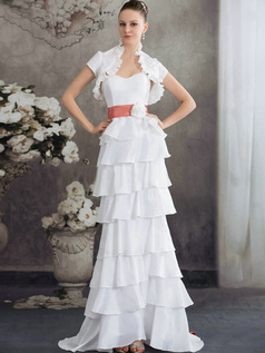 Princess Stand Collar Sweep Stretch Satin Short Sleeve Sashes Wedding Dresses With Jacket
