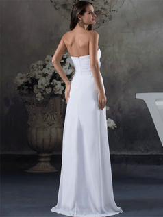 Column Tube Top Brush Train Chiffon Flower Draped Wedding Dresses