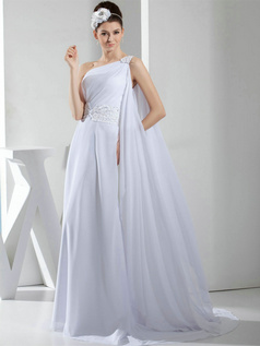A-line One Shoulder Brush Train Chiffon Sequin Beading Wedding Dresses