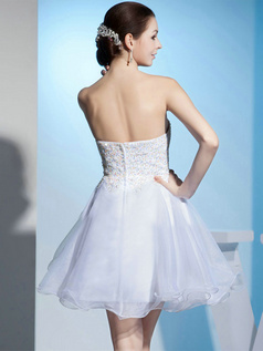 A-line Sweetheart Strapless Short Organza Beading Wedding Dresses