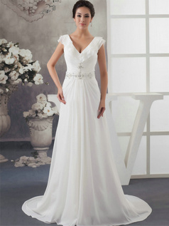 A-line V-neck Brush Train Chiffon Cap Sleeves Crystal Wedding Dresses