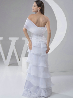 Princess Asymmetrical Collar Floor-length Organza Short Sleeve Lace Wedding Dresses With Flower