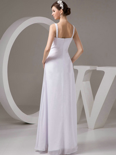 Column Straps Floor-length Chiffon Beading Draped Wedding Dresses