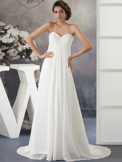 A-line Sweetheart Brush Train Chiffon Crystal Sequin Wedding Dresses