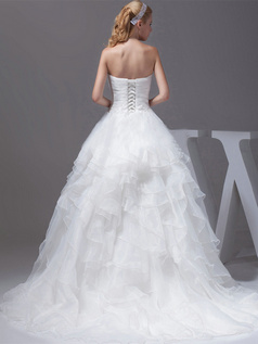 Princess Sweetheart Sweep Organza Appliques Ruffle Wedding Dresses