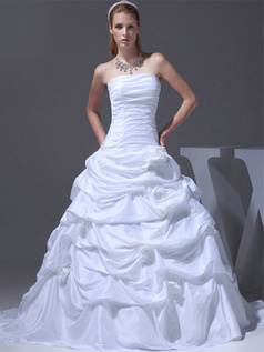 A-line Tube Top Sweep Taffeta Pick-Ups Flower Wedding Dresses