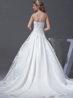 A-line Tube Top Strapless Sweep Satin Pick-Ups Wedding Dresses