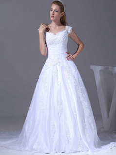 A-line V-neck Sweep Tulle Beading Cap Sleeves Wedding Dresses