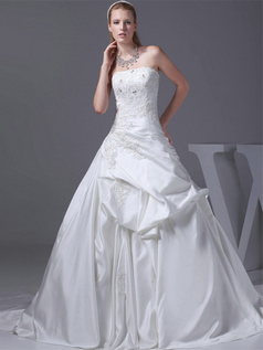 A-line Tube Top Sweep Satin Crystal Pick-Ups Wedding Dresses