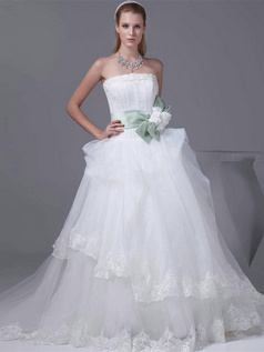 Princess Tube Top Sweep Tulle Flower Bowknot Lace Wedding Dresses