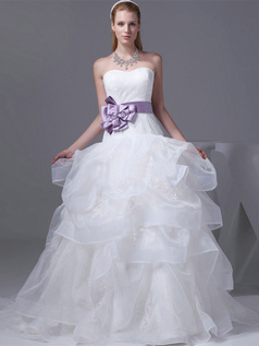 Princess Sweetheart Sweep Organza Bowknot Ruffle Lace Wedding Dresses
