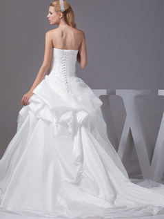Princess Tube Top Sweep Taffeta Crystal Pick-Ups Wedding Dresses