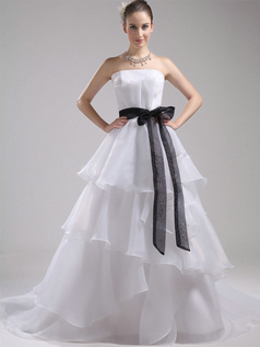 Princess Tube Top Court Train Organza Sashes Tiered Wedding Dresses