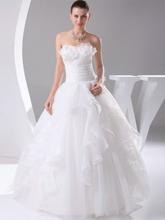 Ball Gown Sweetheart Floor-length Organza Flower Wedding Dresses