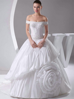 Ball Gown Off-the-shoulder Sweep Taffeta Flower Wedding Dresses