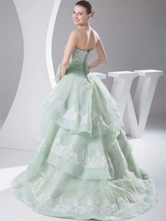 Ball Gown Scalloped-edge Brush Train Organza Bowknot Lace Wedding Dresses With Flower