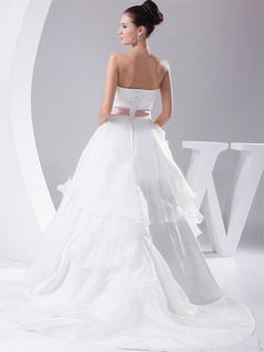 Ball Gown Sweetheart Sweep Organza Bowknot Flower Wedding Dresses
