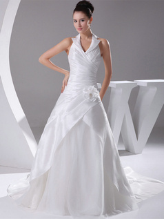 Over Hip Halter Brush Train Satin Flower Side-draped Wedding Dresses